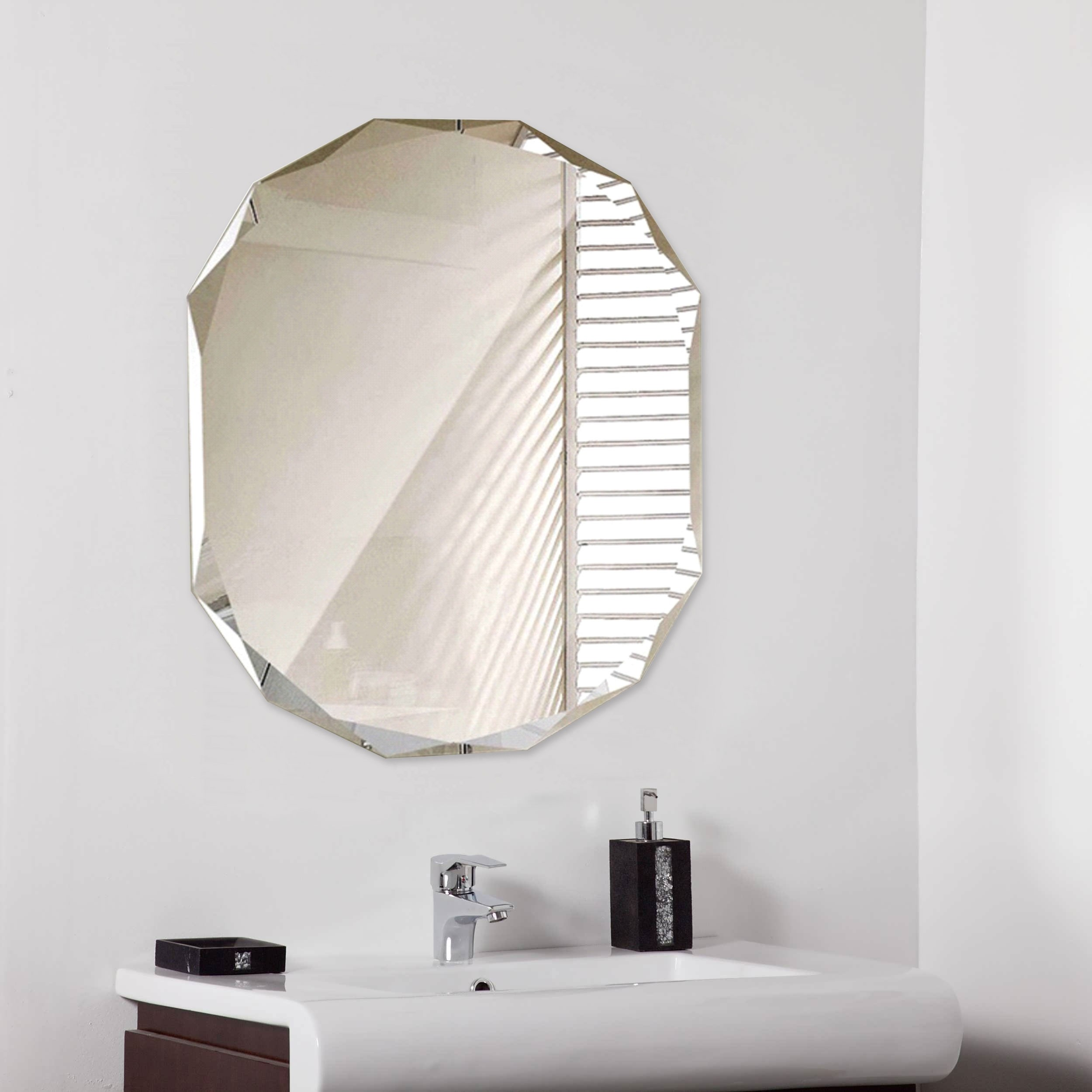 Classic Diamond Cut Oval Mirror 600x450mm